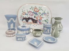Quantity of Wedgwood blue, green and lilac jasperware and a Chinese-style pattern decorated drainer,