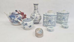 Chinese porcelain baluster vase with underglaze blue motif, porcelain teapot,floral painted, pair
