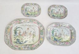 Graduated set of four reproduction Masons ironstone-style meat dishes with chinoiserie figures in