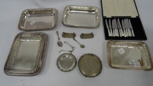 A quantity of silver plate, entree dishes, dog and chain pattern knife rests, mother of pearl and