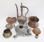 Eastern white metal coffee potwith engraved decoration, Eastern hanging burner, pierced embossed
