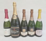 Five bottles of sparkling wine to include two bottles of South African Pieter Cruythofs Brut, magnum