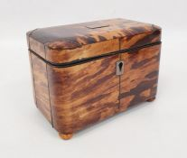 A 19th century tortoiseshell tea caddy, rectangular form, inlaid silver wire work, bun feet,