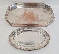 Large two-handled silver plated tray of elongated octagonal form with pierced gallery and