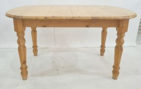 Pine kitchen table on turned legs, 140cm long