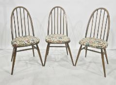Set of six Ercol stickback dining chairs with labels and ink stamp 'S4' and further stamp no,