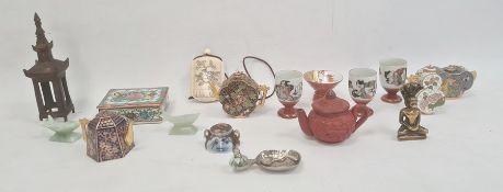 Chinese porcelain trinket box, pair hardstone miniature fish, sundry cloisonne enamel miniatures and