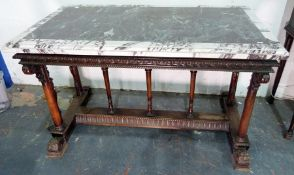 19th century mahogany and marble table, the rectangular specimen marble top with central