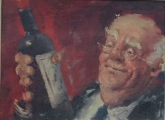 20th century European school Oil on panel Gentleman with wine bottle, unsigned, 24.5cm x 33cm