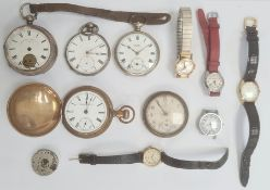 A quantity of watches and pocket watches, to include 'Timex', silver pocket watch 'Lancashire