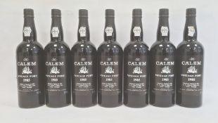 Seven bottles of 1985 Calems vintage port, bottled in Oporto 1987 by A A Calem & Filho, Lda,