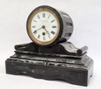 J B Yabsley black marble mantel clockwith Roman numerals to the dial, 23.5cm Condition ReportWe do