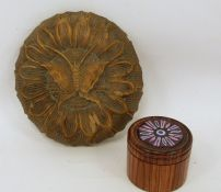 Possibly 18th century carved wooden mould in the form of a moth and 20th century turned lidded