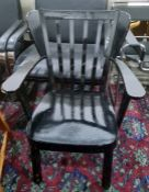 Black painted low armchair together with aPine stickback chair (2)