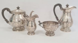 Early 20th century Elkington silver four-piece tea and coffee servicecomprising teapot (22ozt total