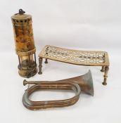 Brass miner's lamp, brass trivetand bugle (3)