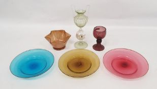 Facon de Venise dolphin stemmed glass vase, Venetian coloured plates, bowl and amethyst-coloured