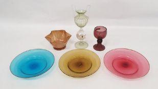 Facon de Venise dolphin stemmed glass vase, Venetian coloured plates, bowl and amethyst-coloured