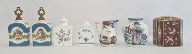 Pair French porcelain tea canisters, floral spray decoration, marked J P to base, three further