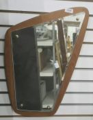 Vintage wall mirror of asymmetric design with bevel glass plate, approx. 39cm wide