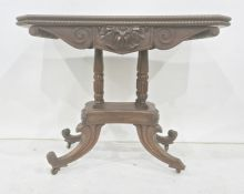 19th century mahogany card table, the rectangular top with canted corners, applied bead moulding,