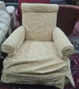 Unusual mahogany and leather-topped side tableon three legs, 76cm x 63cm and armchairin pale