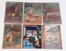 Set of six Thai bodycolour erotic drawings with various figures in interiors and gardens,
