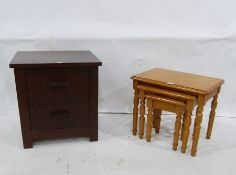 Modern bedside chest of two drawers and pine nest of three tables (2)