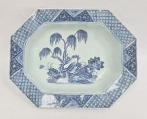 Chinese porcelain shallow dish, oblong with canted corners, willow and lotus design in blue and with