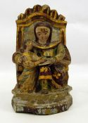 Possibly 18th century Italian carved wood and polychrome finished figural sceneof Madonna and
