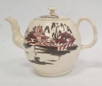 18th century English creamware teapot, the bulbous body with chinoiserie lakeside landscape in