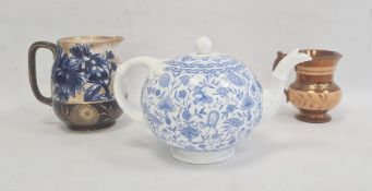Royal Crown Derby porcelain teapot with underglaze blue scrolling floral transfer-printed decoration