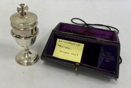 Silver travelling communion set by A R Mowbray & Co Ltd, London 1927,the bowl of the chalice with