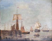 19th century school Oil on panel Ships at harbourside with figures in a rowing boat Unsigned