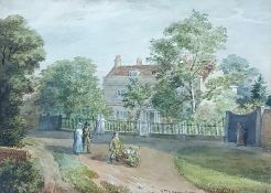 """George Scharf (1788-1860) Watercolour drawing """"Near Tottenham Green"""", figures on a path before"""