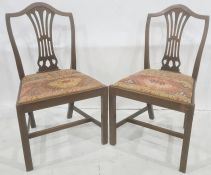 Pair of mahogany dining chairs with pierced splat