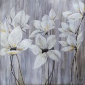 Contemporary textured print, flower scene in white and silver 91cm x 91cm