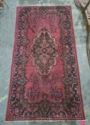 Vintage Iranian village rug with vibrant floral pattern, 300 x 161cm