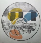 """Alfred Harris Artist's proof colour print """"Folded Hands"""", signed lower right and dated '74, 26cm"""