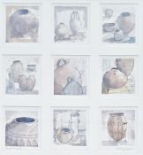 """Kathy Lewis (20th century) Watercolour drawing """"Egyptian Pots"""", titled and signed in pencil,"""