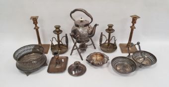 Victorian EPNS kettle and stand with naturalistic twig base, a large silver plated coaster with