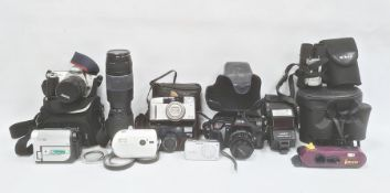 Quantity cameras, lenses, binoculars to include Canon and Minolta