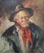 Early 20th century school Oil on canvas Head and shoulders portrait of a man in hat and red scarf