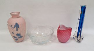 Pink and white satin glass vasewith trefoil rim, 11cm high, an opalescent and moulded glass bowl