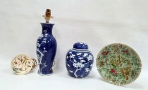 Blue and white ginger jar and cover decorated with prunus blossom, a modern Chinese blue and white