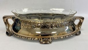 A 20th century Danish silver plated and glass centrepiece, silver plated two handled base with