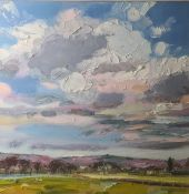 Judith Bridgland (b.1962) Oil on linen 'Big clouds over the Peak District', signed lower right,