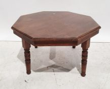 Early 20th century octagonal coffee tableon four turned and ring supports, 73cm x 43.5cm