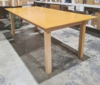 Modern oak rectangular dining table, 202cm x 93cm
