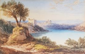 19th century school Watercolour drawing Mediterranean lakeside landscape with buildings on hills